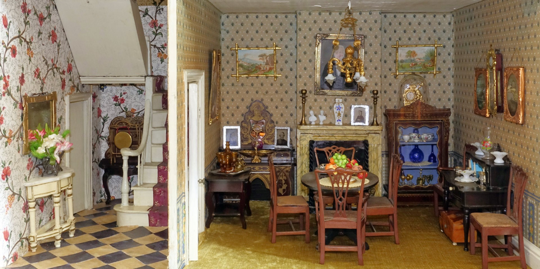 Dining room of boxback dolls house